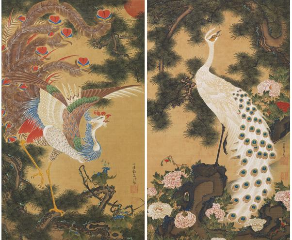 伊藤若冲「孔雀鳳凰図」(部分)岡田美術館蔵