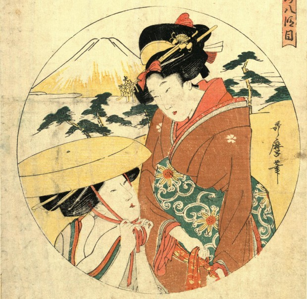 EDNKN6 Hachidanme, Act eight [of the Chushingura]., Kitagawa, Utamaro, 1753?-1806, artist, [between 1799 and 1801], 1 print : woodcut, color ; 34.2 x 23.1 cm., Print shows two women (one probably Konami on her bridal journey to Rikiya's home) in a landscape setting with Mount Fuji in the background.