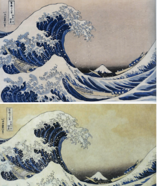 北斎名作「神奈川沖浪裏」<br>同じ絵を比べると、こんなに面白い!