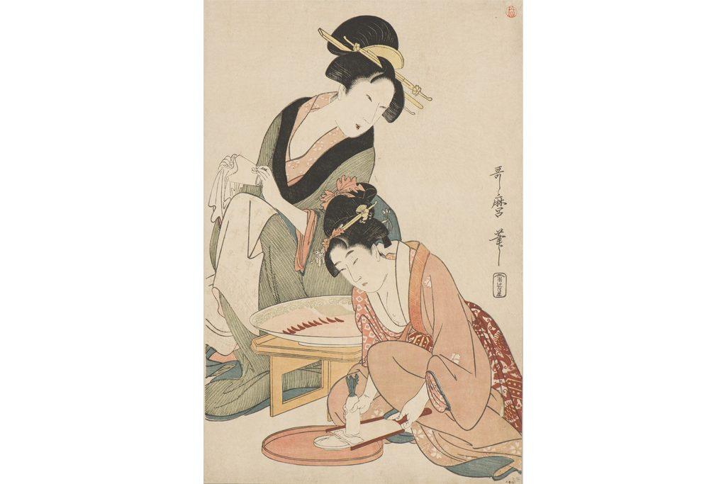 喜多川歌麿「料理をする母娘」 18世紀 神奈川県立歴史博物館 前期(4/6-5/1)展示