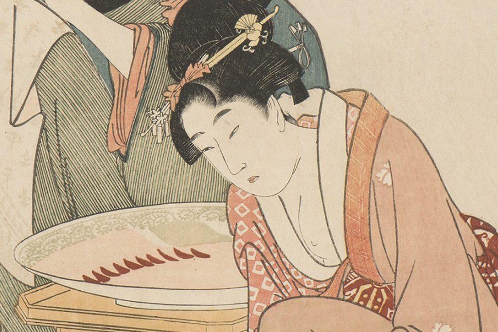 喜多川歌麿「料理をする母娘」(部分図) いかにも育ちの良さそうなお嬢さん。はたしてモデルはいたのだろうか。
