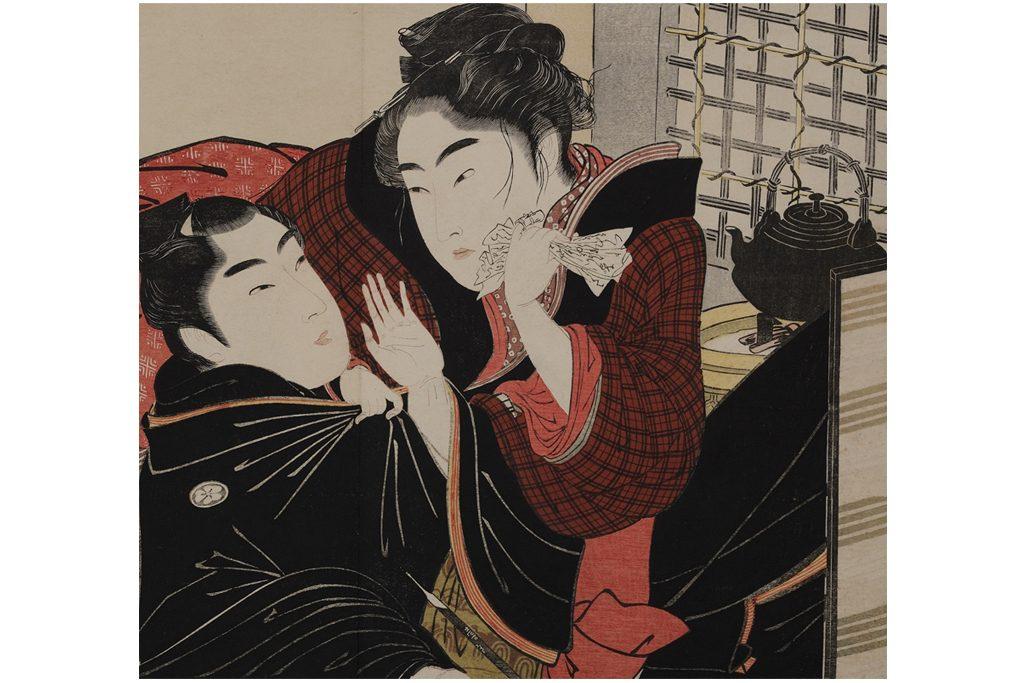 喜多川歌麿「歌まくら」(部分) 1788年 浦上満氏 B期(4/24-5/9)展示 浮気疑惑が浮上した男女の修羅場。春画と言えど、これはちょっと笑えないかも。