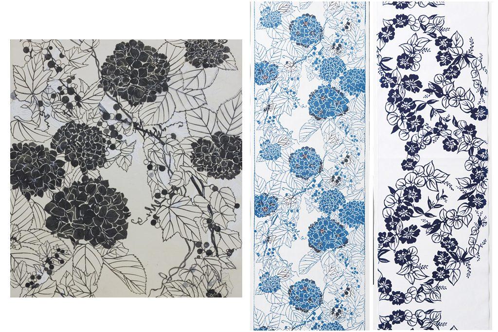 日本橋三越オリジナルゆかたの型紙の図案とゆかた2種