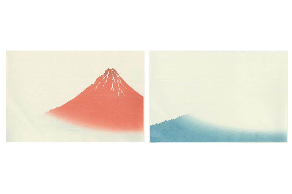 赤富士の2色のグラデーション