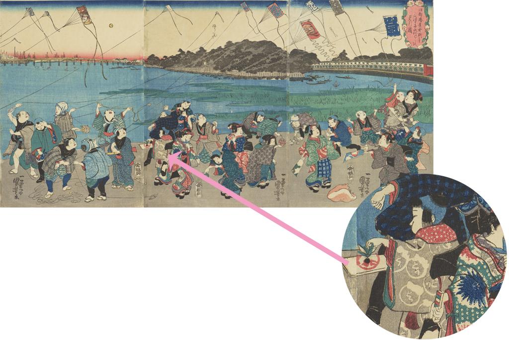歌川国芳「江都勝景中洲より三つまた永代ばしを見る図」